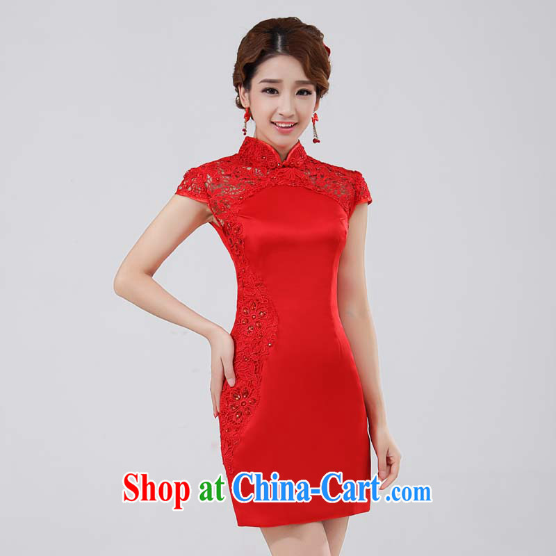 Bridal toast wedding dress cheongsam Stylish retro improved cheongsam lace Openwork red package shoulder, collar-tie wood drill red M