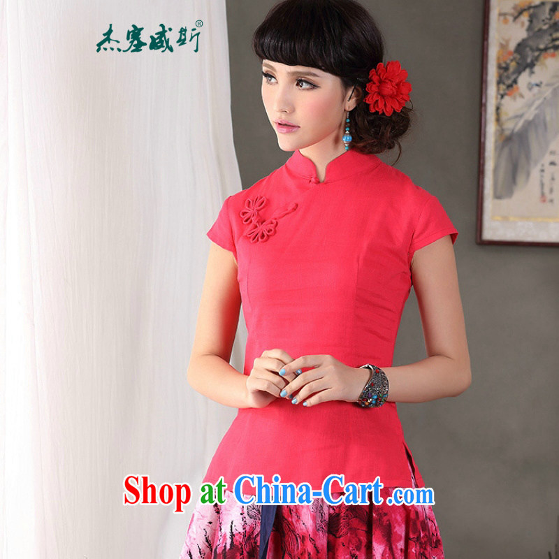 Jessup, 2015 spring and summer female new China wind is a tight, cotton for the improved cheongsam Chinese T-shirt shirt Chinese CFU of 179 red XXL