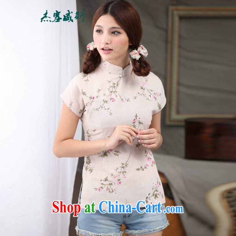 Jessup, 2015 spring and summer new, cotton linen, the Commission adopted a hard-pressed small floral pin Pearl Chinese improved Chinese T-shirt shirt female CFA 102 figure XXL