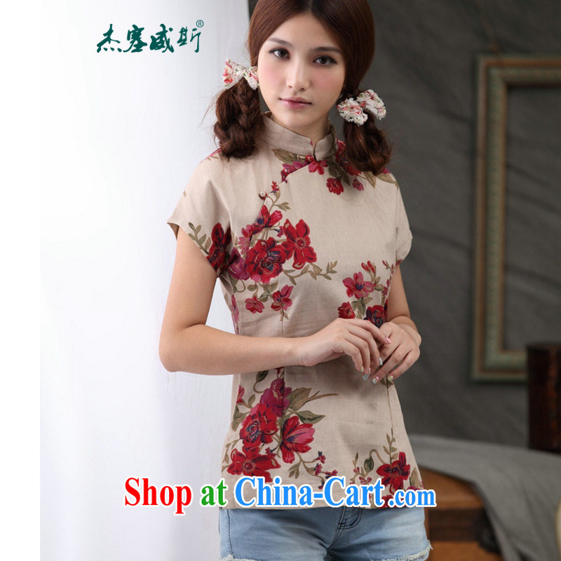 Jessup, 2015 spring and summer clothes China wind linen Chinese improved the collar dresses T-shirt full Garden Chinese T-shirt shirt CQP 818 full garden, for XXL