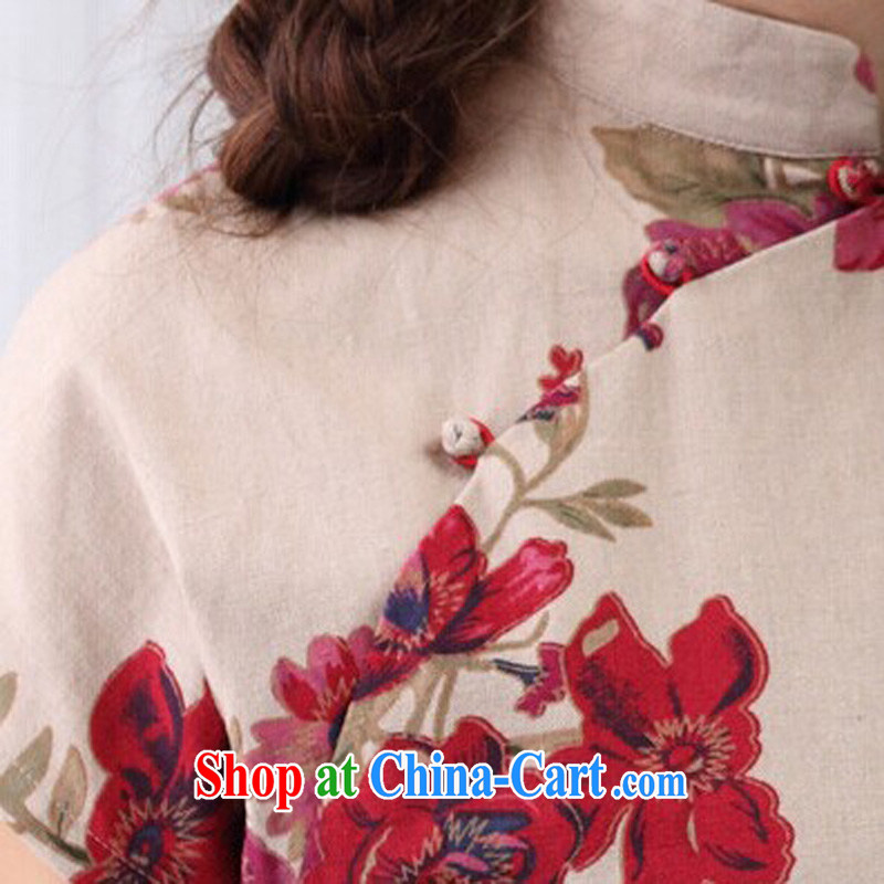 Cheng Kejie, Wiesbaden, 2015 spring and summer female Chinese wind linen Chinese improved the collar cheongsam shirt full Garden Chinese T-shirt shirt CQP 818 full garden, for XXL, Jessup, and shopping on the Internet