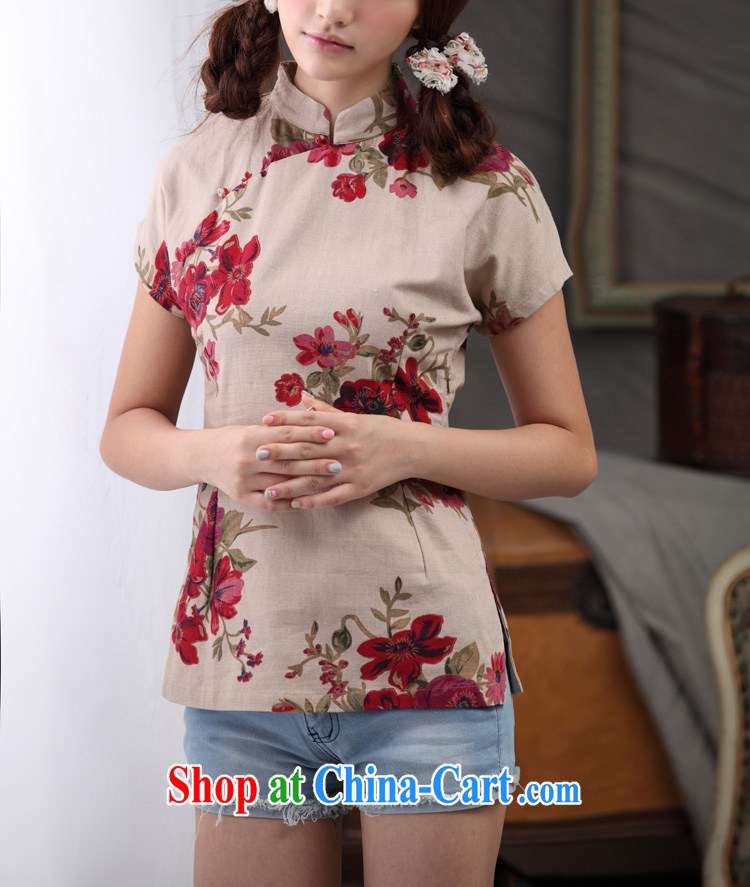 Cheng Kejie, Wiesbaden, 2015 spring and summer female Chinese wind linen Chinese improved the collar cheongsam shirt full Garden Chinese T-shirt shirt CQP 818 full garden, for XXL pictures, price, brand platters! Elections are good character, the national distribution, so why buy now enjoy more preferential! Health