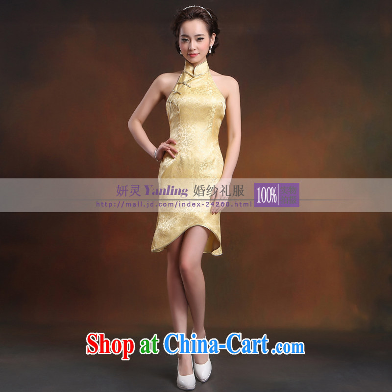 Her spirit_YANLING new minimalist yellow short, elegant beauty marriages improved cheongsam 14,033 yellow XXXXL