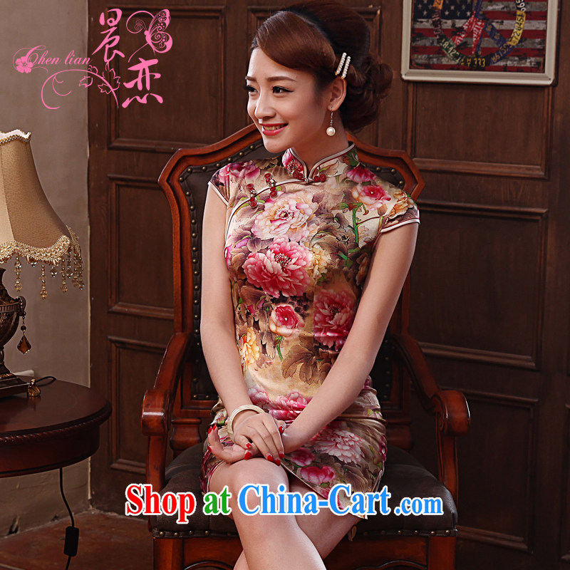 Morning, dresses new 2014 summer retro short-sleeved improved stylish sauna silk Silk Cheongsam dress Peony red XL
