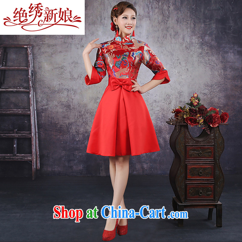 There is embroidery bridal wedding dresses new 2014 Korean high waist short, pregnant red wedding dress bows dress evening dress qipao QP - 344 red XXL Suzhou shipping