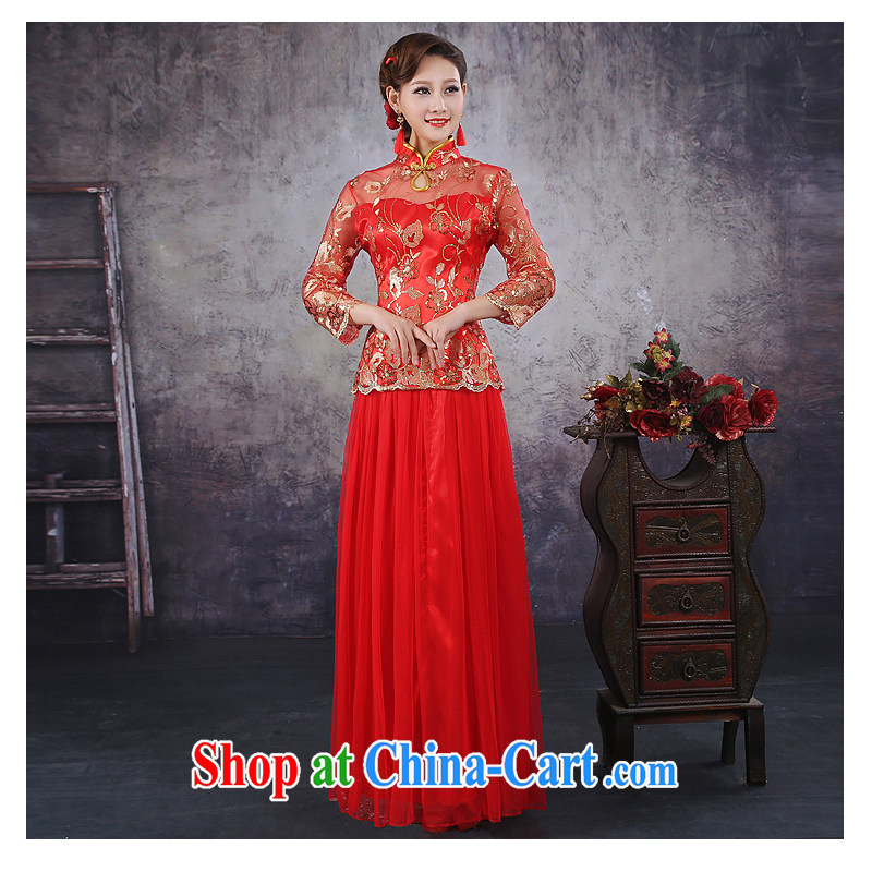 No bride embroidered Chinese style improved simplicity retro Red Beauty bridal marriage short-sleeved qipao QP - 347 7 cuff XXL Suzhou shipping