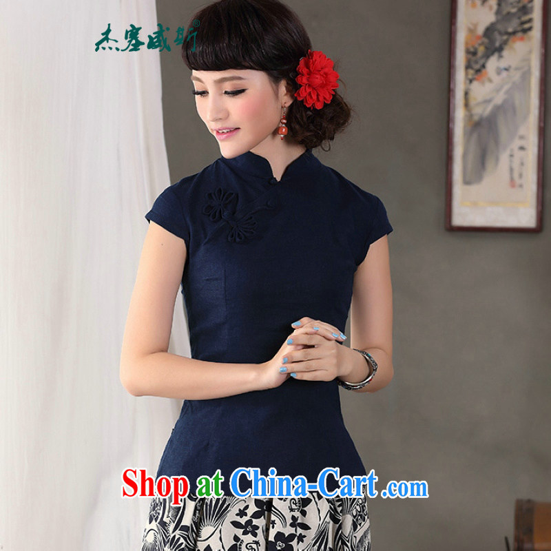 Jessup, 2015 spring and summer female new Chinese fashion, for improved cotton the cheongsam Chinese T-shirt shirt Tang replace CLN 453 dark blue XXL