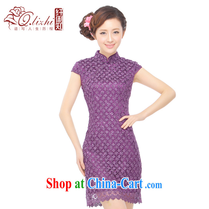 Slim li know summer 2015 new stylish and elegant and refined beauty retro sexy lace, dresses, skirt Q 401 - 2 purple