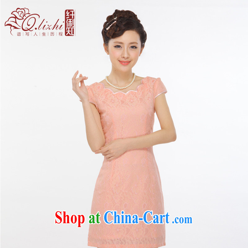 Slim li know summer 2015 new improved petal collar pink small dress retro sexy beauty short cheongsam QY 3153 pink XXL