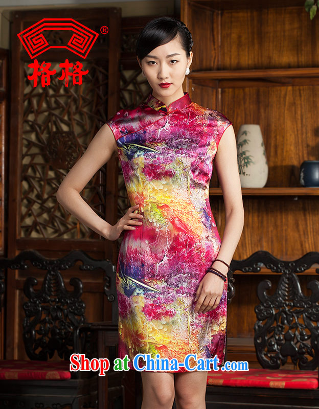 Huan Zhu Ge Ge 2014 spring and summer new stylish improved sauna Silk is silk painting cheongsam dress Dress Suit 5 XL