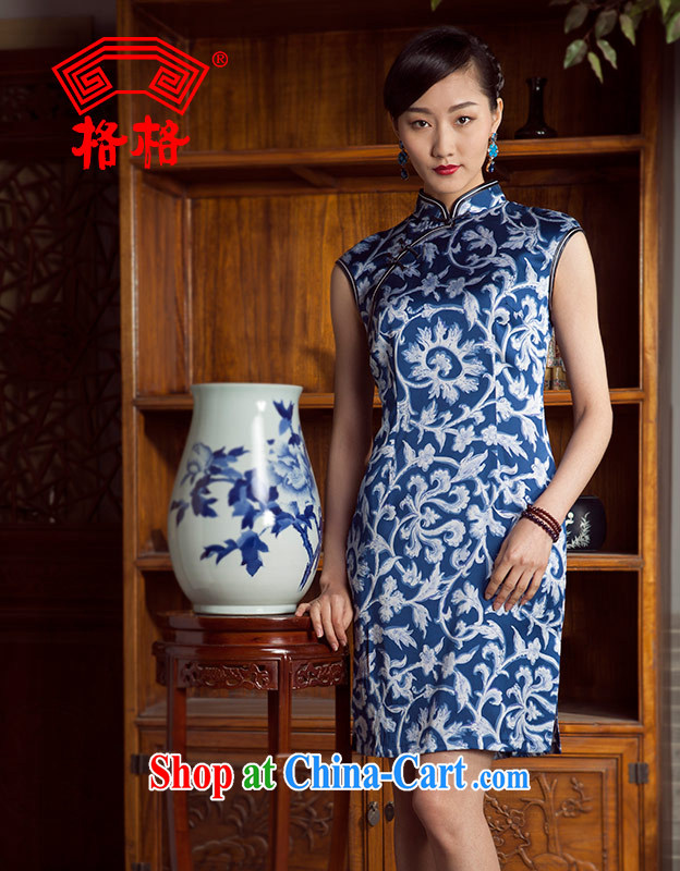 Huan Zhu Ge Ge 2014 summer new sauna silk silk leisure improved stylish beauty short qipao Cheong Wa Dae 5 XL