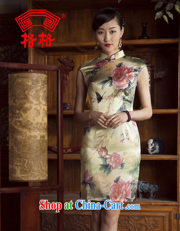 Huan Zhu Ge Ge 2014 spring and summer new stylish improved sauna silk silk painting outfit color 4 XL
