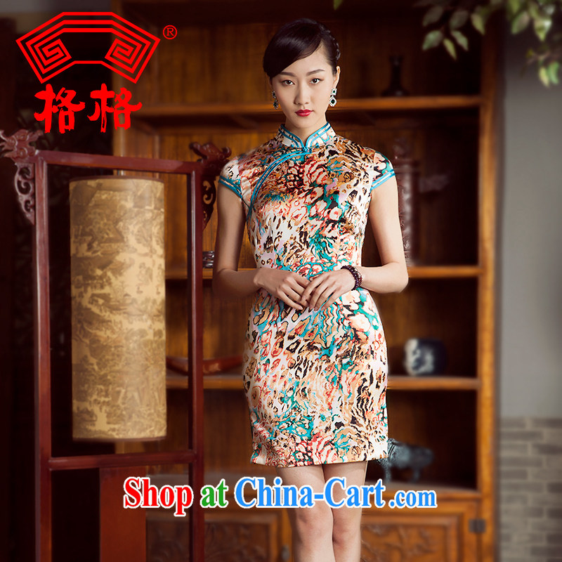 Huan Zhu Ge Ge 2014 spring and summer new stylish improved sauna silk silk painting beauty short cheongsam floral 5 XL