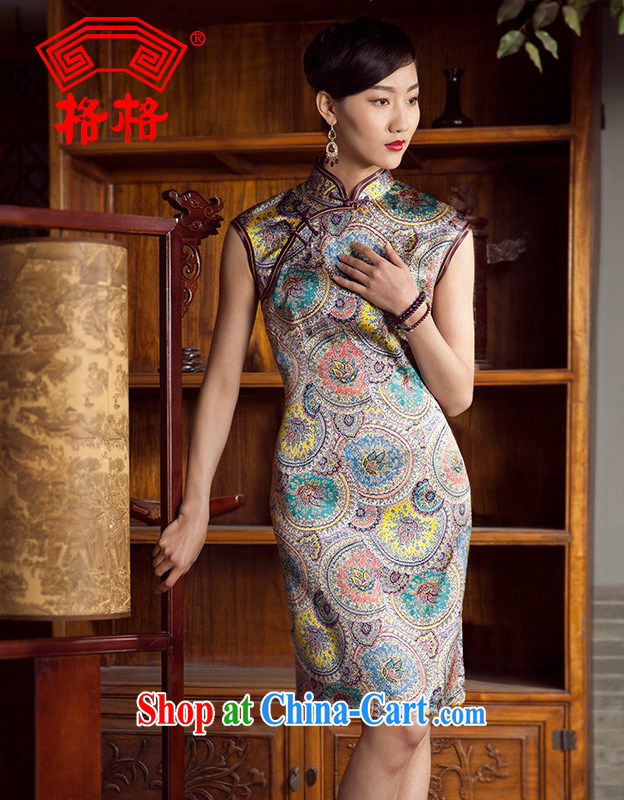 Princess summer new sauna silk silk improved stylish beauty short cheongsam floral 5 XL