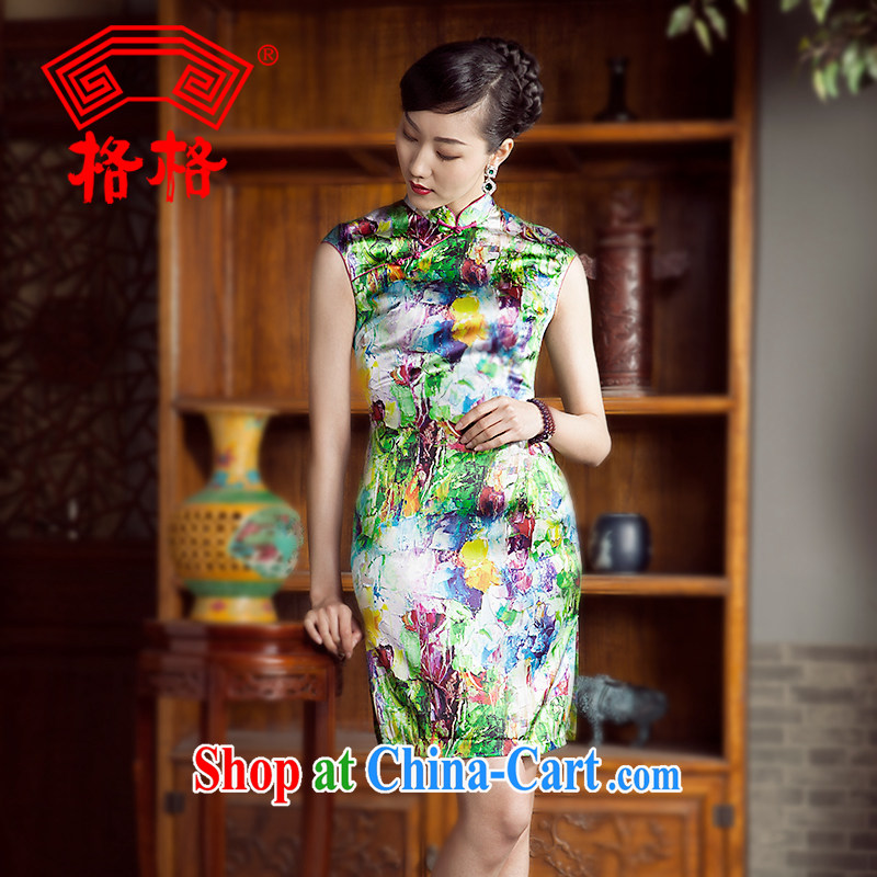 The 618 explosives pre-emptive shopping princess' 2014 spring and summer new improved retro sauna silk silk stylish poster, cheongsam dress green 5 XL