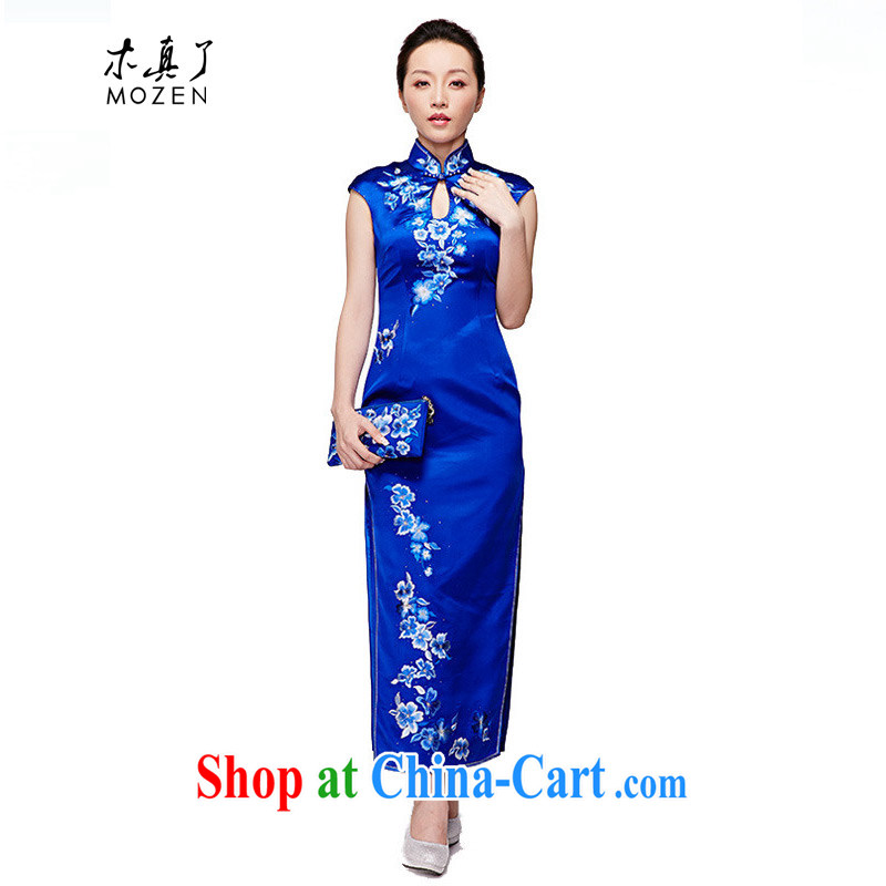 Wood is really the 2015 spring and summer new Chinese high-end embroidered long Silk Cheongsam dress style elegant qipao dress 22,018 11 blue XXXL