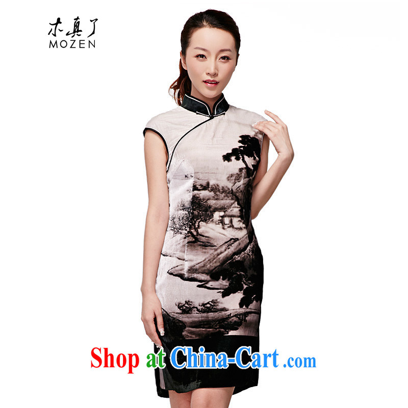 Wood is really the 2015 spring and summer new Chinese Dress Chinese style landscape velvet cheongsam silk winter dresses 11,579 07 light gray XXXL