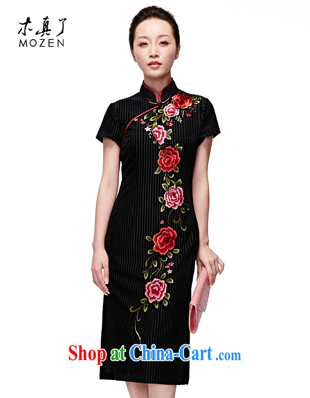 Wood is really the 2015 spring and summer new embroidered long dresses Original elegant dress 32,350 01 black XXL (B)