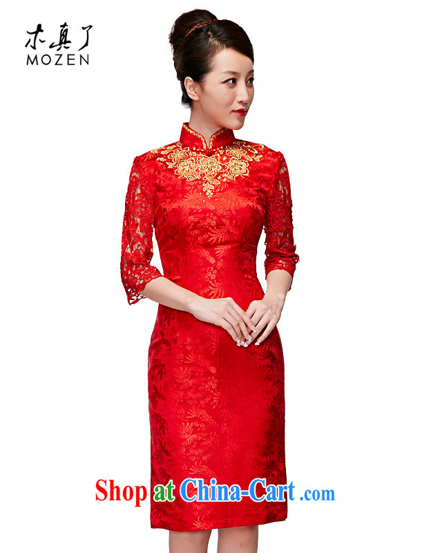 Wood is really the 2015 spring new paragraph 7 sub-sleeved Silk Dresses wedding dresses bridal toast cheongsam dress 11,635 05 red XXL