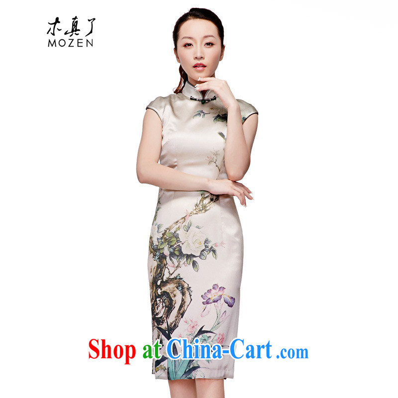 Wood is really the 2015 spring and summer new Chinese silk dress China wind improved cheongsam beauty dresses elegant dresses 11,518 15 green the birds XL