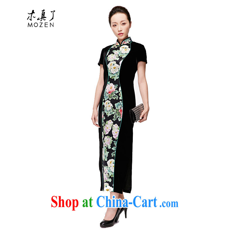 Wood is a qipao 2015 spring and summer New Silk long cheongsam vases stitching dress mom with 22,213 01 black XXL (B)