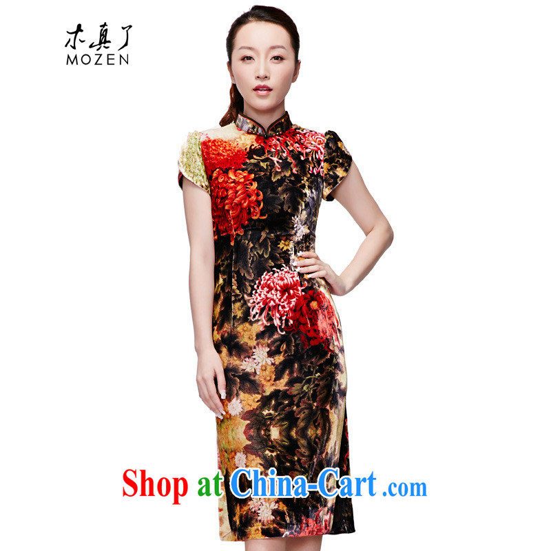 Wood is really the 2015 spring and summer new Chinese Dress velvet painting and elegant in style long cheongsam dress 21,848 12 dark yellow XXXL