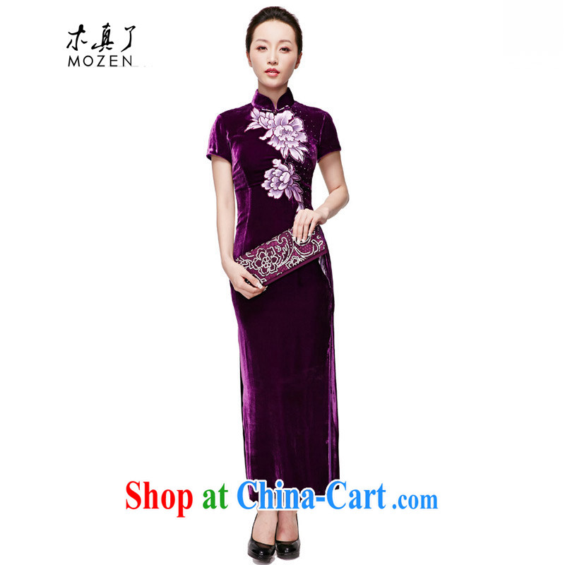 Wood is really the 2015 spring and summer new style dress original design long Silk Cheongsam mom with 01,150 16 purple S