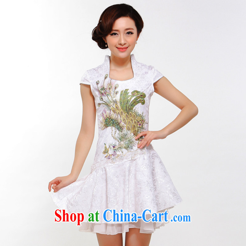 once and for all silence the Phoenix embroidery 2014 summer new, improved cheongsam stylish sexy retro daily outfit skirt Golden Phoenix L