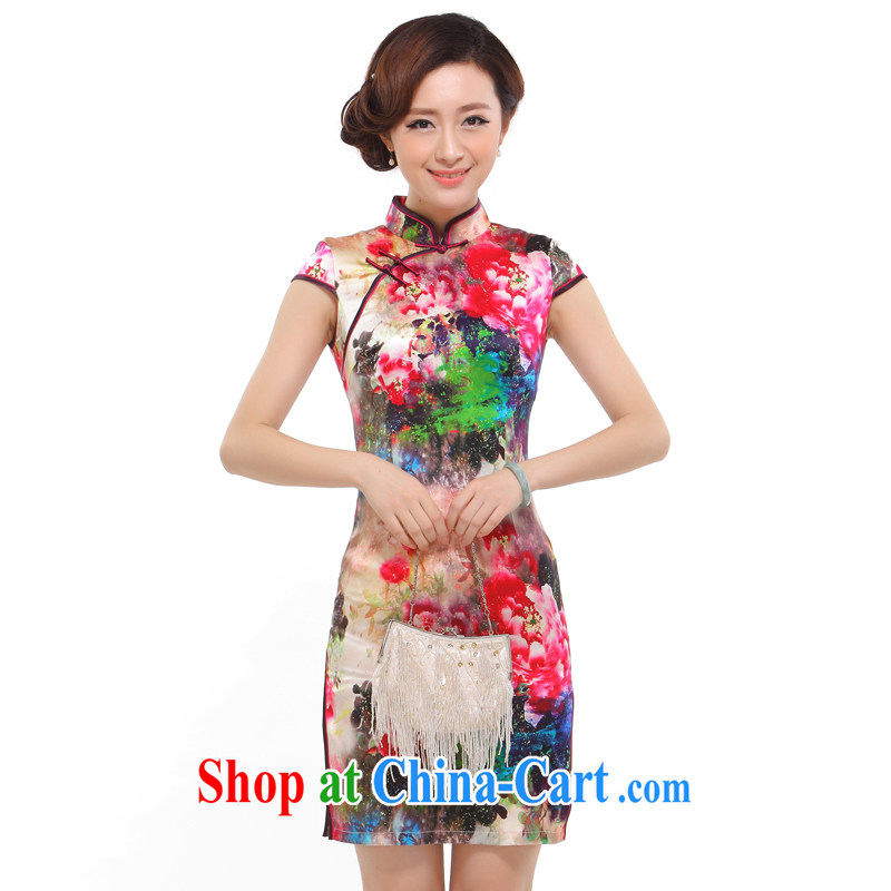 J - ZS 08 dresses summer 2014 stylish new improved sexy beauty retro upscale Silk Cheongsam dress red L