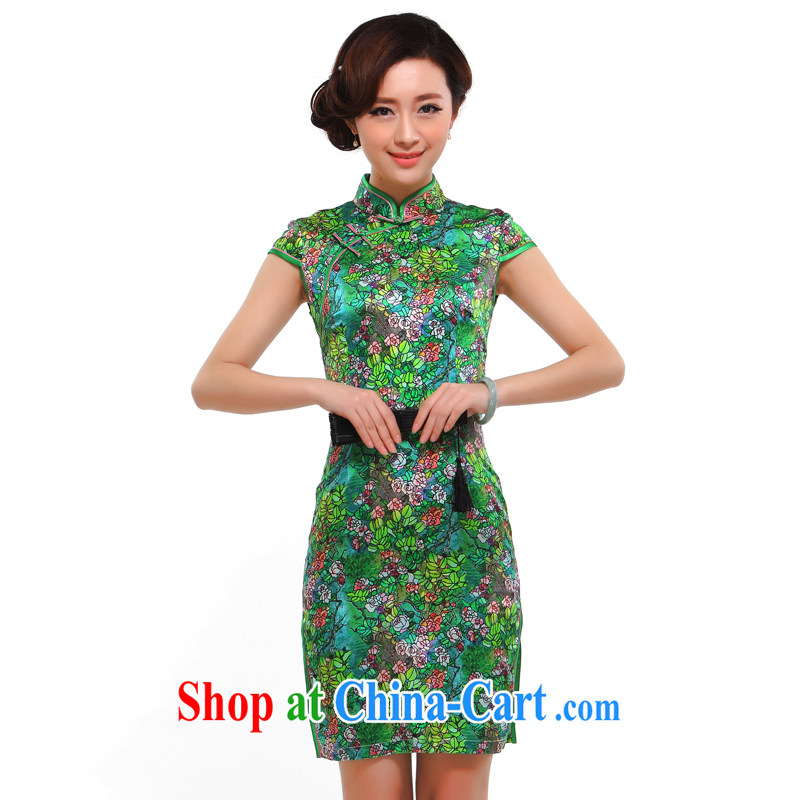 Summer fashion 2014 new improved sexy beauty retro upscale heavy silk sauna Silk Cheongsam dress green L