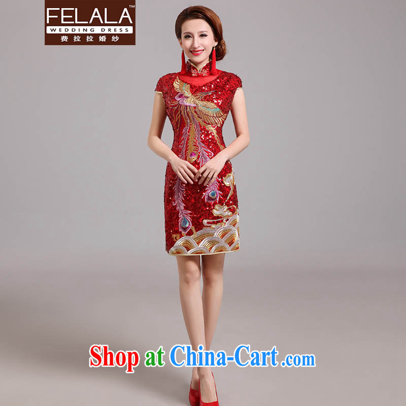 Ferrara 2015 new bride retro, short cheongsam Chinese wedding embroidered dragon Ba Gua toast serving red XL Suzhou shipping
