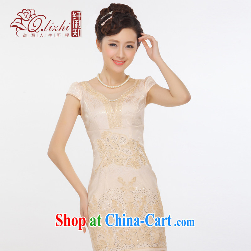Slim li know summer 2015 new elegant V collar sexy beauty fashion improved short cheongsam dress QT 13 - 67 light champagne color L
