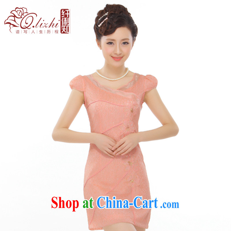 Slim li know summer 2015 new petal peach and gold thread beads, embroidery and stylish improved short cheongsam QLZ Q 15 6006 orange toner M