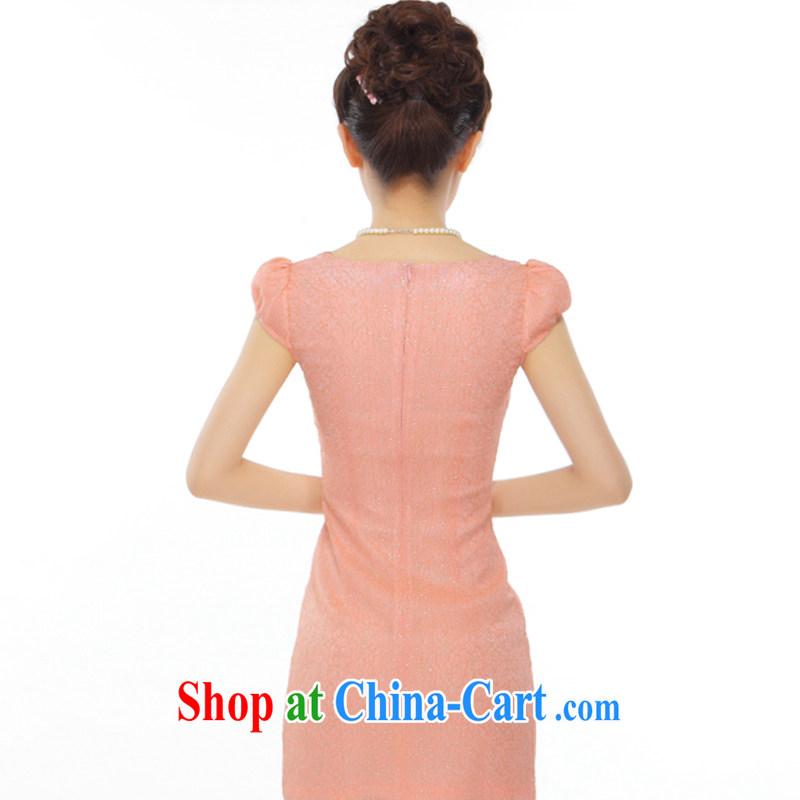 Slim li know summer 2015 new petal peach and gold thread beads, embroidery and stylish improved short cheongsam QLZ Q 15 6006 orange toner M, slim Li (Q . LIZHI), online shopping