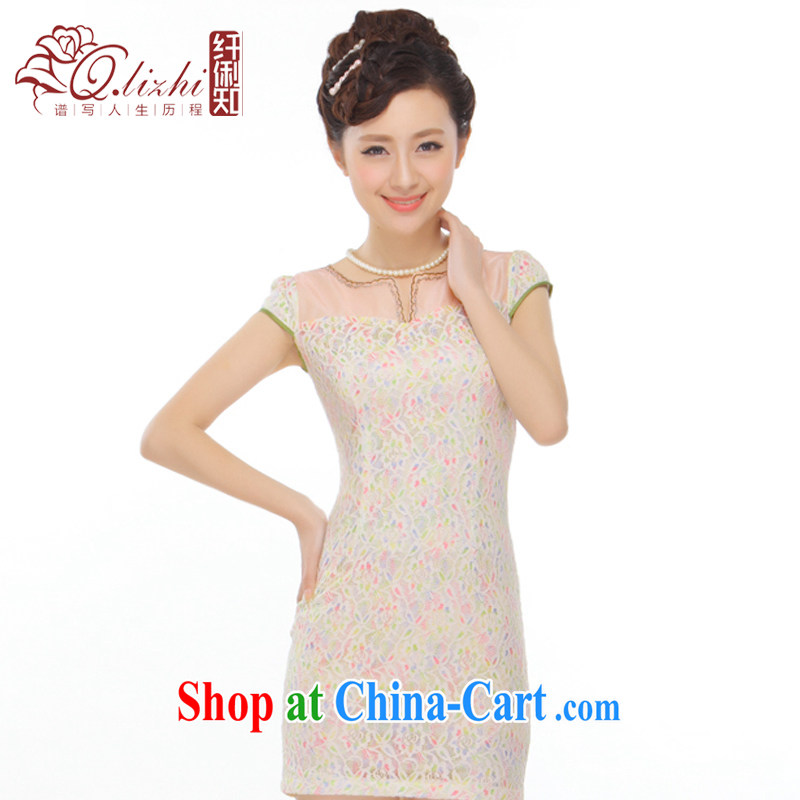 Slim li know summer 2015 new stylish improved fresh romantic lace short cheongsam dress retro style dress QC 9812 photo color XXL