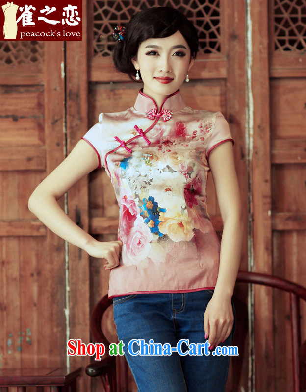 Bird lovers of youth is not central bank improved stylish short-sleeved silk short cheongsam shirt QD 315 figure S