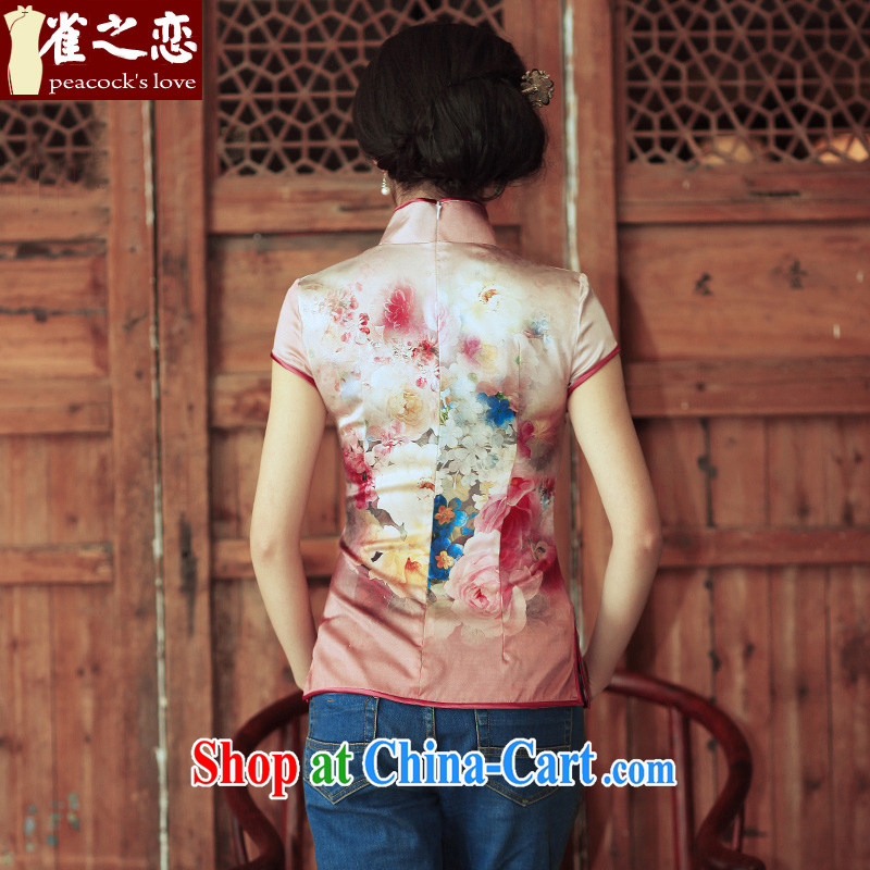 Bird lovers of youth is not central bank improved stylish short-sleeved silk short cheongsam shirt QD 315 figure S, birds love, and shopping on the Internet