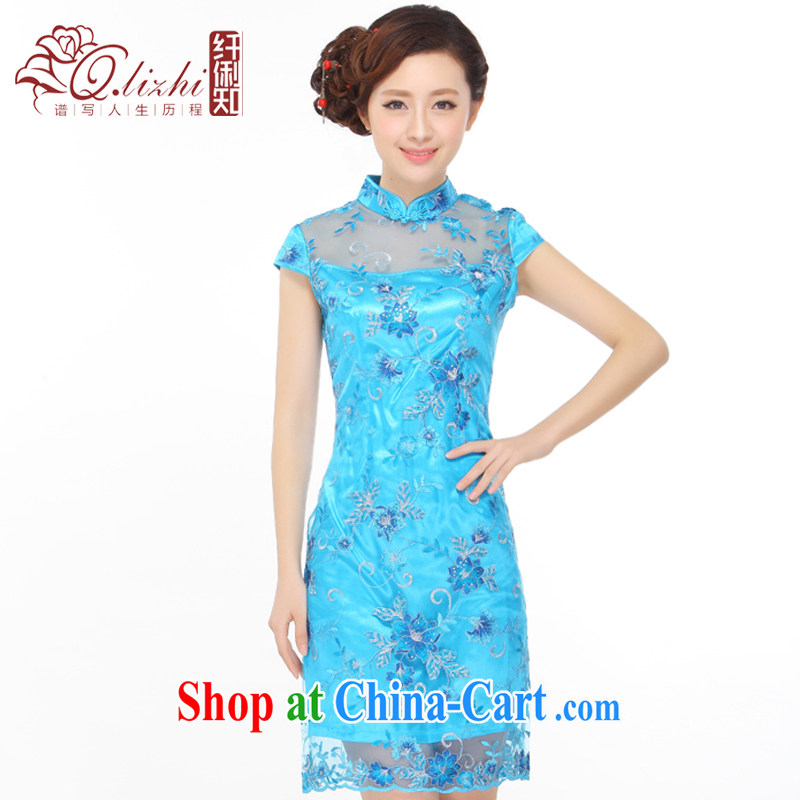 Slim li know summer 2015 new small dress embroidery, lace retro improved cultivation video thin cheongsam dress QY 3088 sapphire blue XXXL