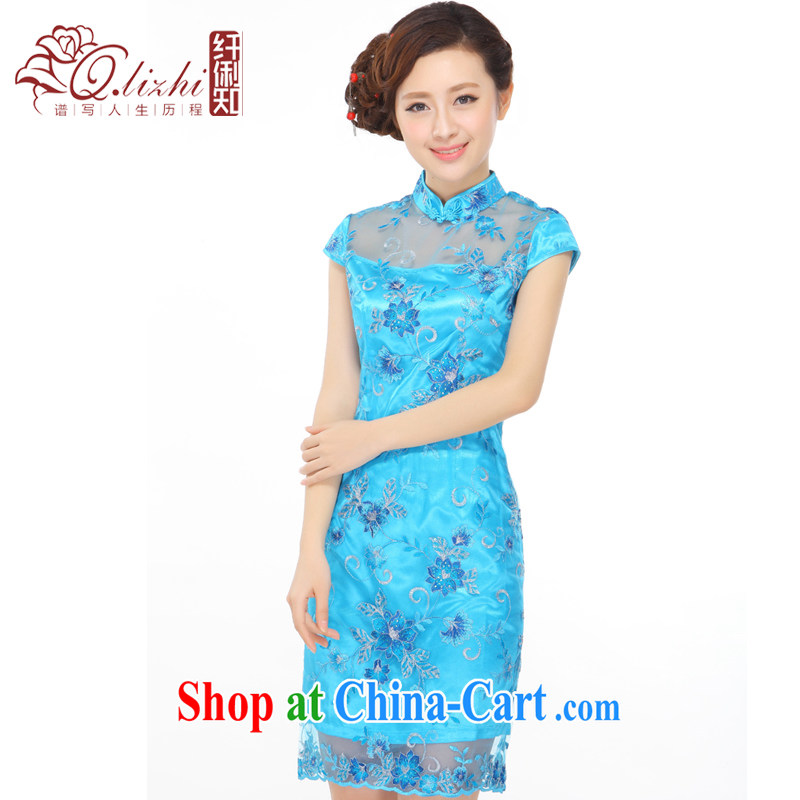 Slim li know summer 2015 new small dress embroidery, lace retro improved cultivation video thin cheongsam dress QY 3088 sapphire blue XXXL, slim Li (Q . LIZHI), and, on-line shopping