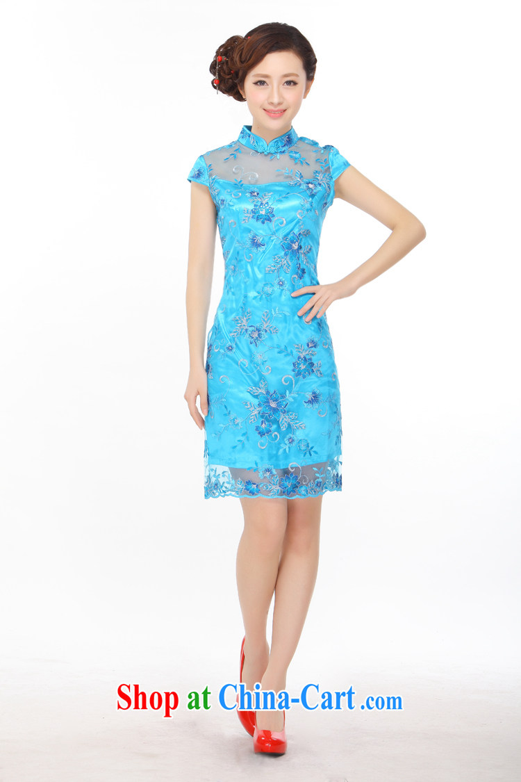 Slim li know summer 2015 new small dress embroidery, lace retro improved cultivation video thin cheongsam dress QY 3088 sapphire blue XXXL pictures, price, brand platters! Elections are good character, the national distribution, so why buy now enjoy more preferential! Health