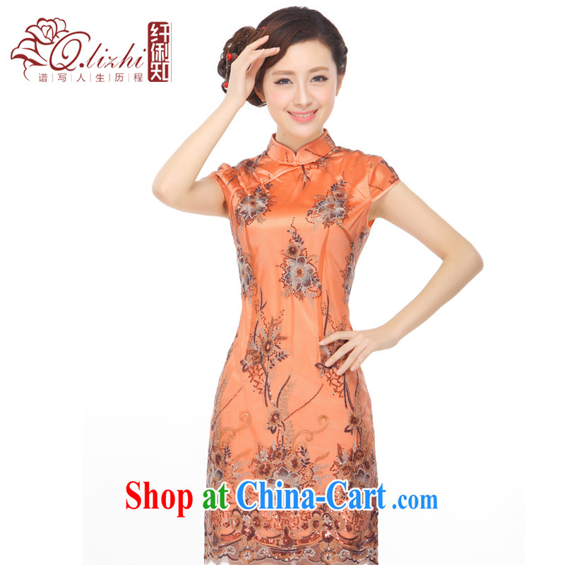 Slim li know summer 2015 new beauty, elegant and stylish improved web yarn beads, embroidered short cheongsam dress 3080 orange XXL