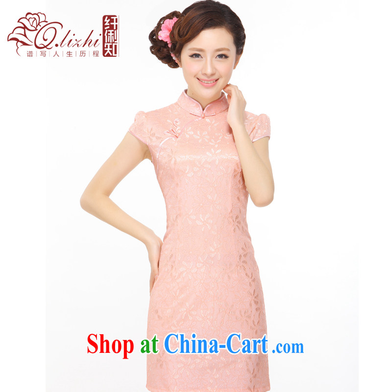 Slim li know summer 2014 new elegant Mrs women Beauty sense lace stylish improved short dress cheongsam dress Q 043,137 pink XXL