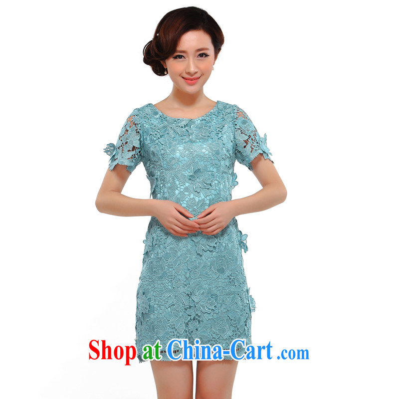once and for all silence the cheongsam stylish 2014 summer new, improved sense of beauty video thin lace dress cheongsam dress light blue L