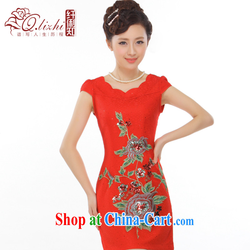 Slim li know summer 2015 new Peony embroidery petal style improved short cheongsam dress bride dress toast Q 31,449 red XXL