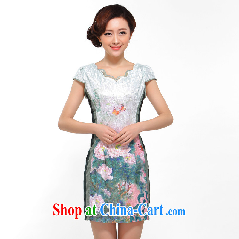 once and for all silence the cheongsam summer 2014 stylish new improved sexy beauty retro large peony flower cheongsam dress blue L