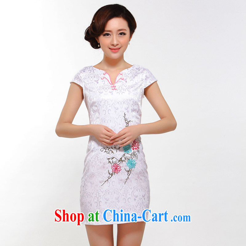 once and for all silence the cheongsam summer 2014 stylish new improved cheongsam sexy beauty retro girl cheongsam dress white L