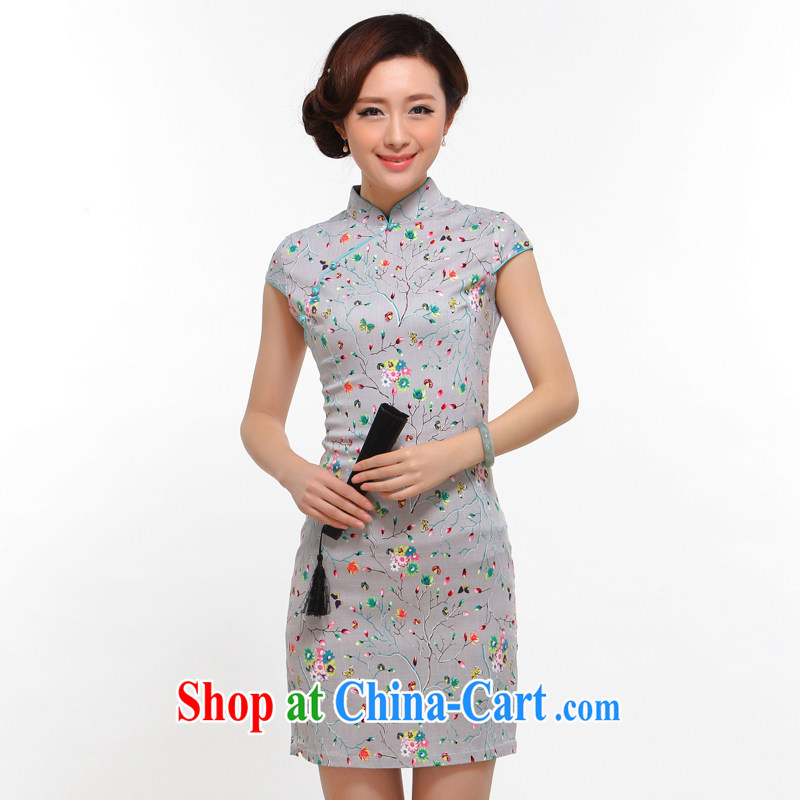 Dresses summer 2014 stylish new improved sense of beauty retro high-tension cheongsam dress light gray L