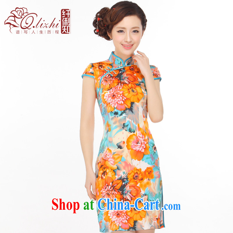 Slim li know summer 2015 new, such as a fine antique beautiful beauty silk on Lao People's stylish improved cheongsam dress Q 403 - 4 picture color XXL