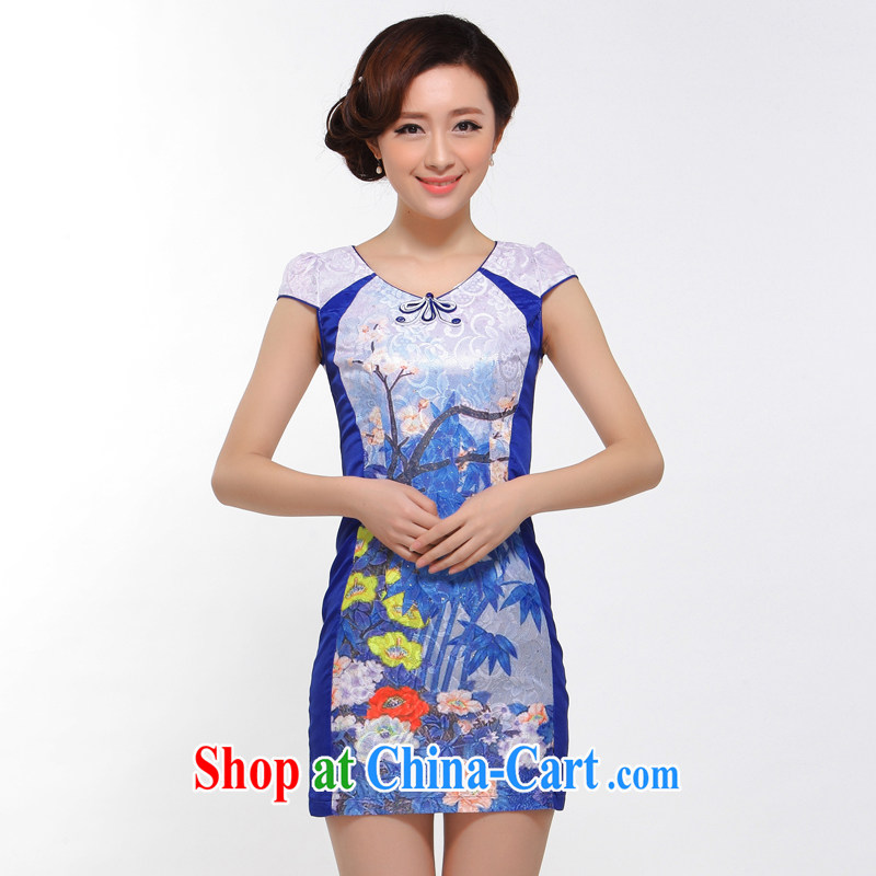 J - XJ 51 dresses summer 2014 stylish new improved sexy beauty retro upscale lace cheongsam dress blue L