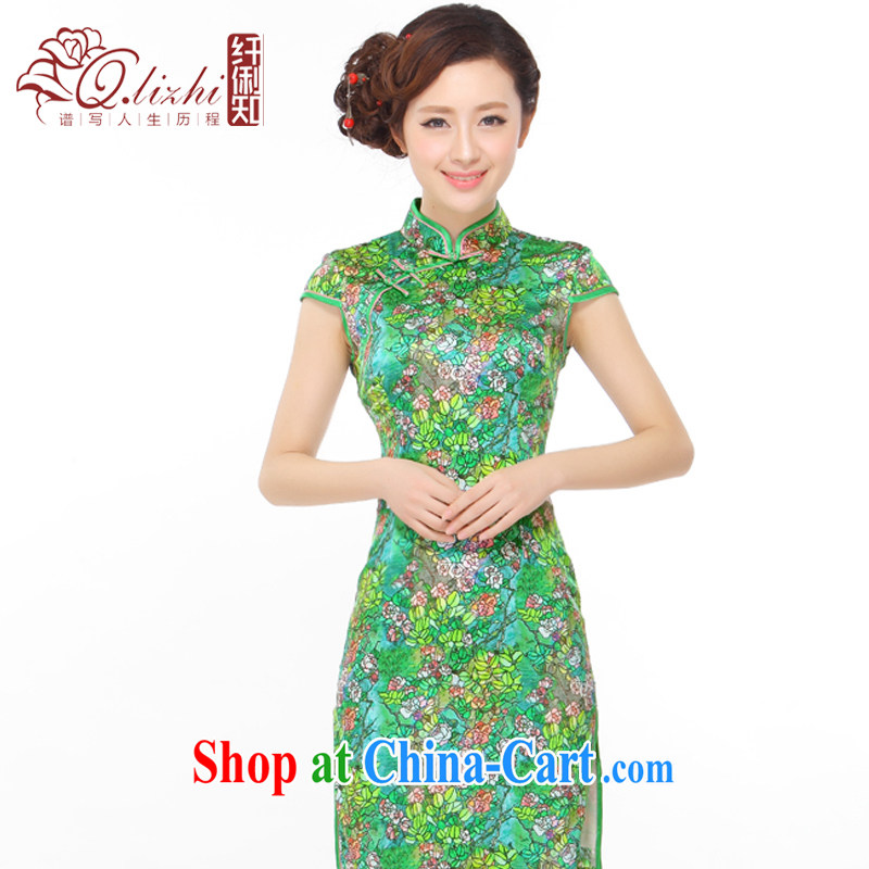 Slim li know summer 2015 new small floral retro beauty silk high's stylish improved cheongsam dress Q 403 - 5 picture color XXL